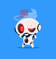cute robot broken isolated icon on blue background vector image vector image