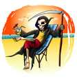 death on vacation on the beach in a raincoat on a vector image