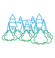 degraded line nature pine tree with clouds vector image vector image