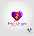 electric heart - the power of heart logo vector image