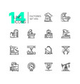 factories - modern thin line design icons set vector image