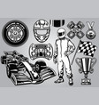formula racing set black and white vector image vector image