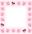 frame with cute pink pigs vector image vector image