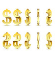 gold sign is a dollar on white background vector image vector image