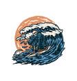 grim reaper surfing vector image