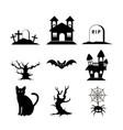 halloween silhouette set icon vector image vector image