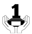 hands human with number one trophy award vector image