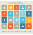 Industrial icons Multicolored square flat buttons vector image vector image