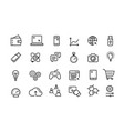 line icon set collection black outline vector image