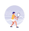 man practicing tennis avatar character vector image vector image
