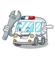 mechanic ambulance mascot cartoon style vector image