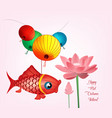 mid autumn festival with lantern and lotus vector image vector image