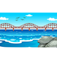 Ocean view with the bridge vector image vector image