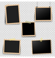 old photo frame with transparent background vector image vector image