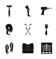 orthopedic prosthetic icon set simple style vector image vector image