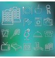 outline hotel and accommodation icons vector image