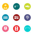 parking facilities icons set flat style vector image vector image