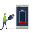 phone low charge level flat vector image vector image