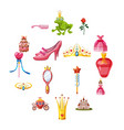princess fairytale doll icons set cartoon style vector image