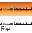 Riga skyline in orange background vector image vector image