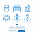 science and laboratory thin line icons set vector image vector image