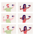 selfie poses flat set happy man and woman taking vector image