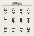 set of underwear icons in thin line style vector image vector image