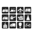 Silhouette Travel and transportation icons vector image vector image
