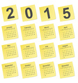simple calendar 2015 year on yellow stick notes vector image vector image
