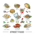 street food fastfood burger or grilled vector image