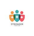 stronger together logo medicine shield on white vector image