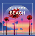 sunset beach at seashore sea landscape with palms vector image vector image