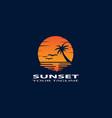 sunset ocean gradient logo design vector image