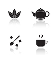 Tea accessories drop shadow icons set vector image vector image