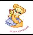teddy bear girl watercolor vector image vector image