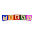 texas wooden block letters vector image vector image