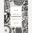 thanksgiving day dinner menu design with roasted vector image vector image