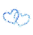 Two blue outline hearts isolated on white vector image vector image