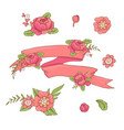 vintage floral ribbon hand drawn doodle banner vector image vector image