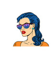 woman in sunglasses with the reflection city vector image