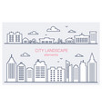 thin line city buildings set downtown landscape vector image