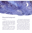 Blue space background Watercolor vector image