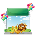 A lion with a crown near the empty signage vector image vector image
