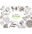 bakery background linear graphic bread vector image