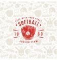 baseball seamless pattern and emblem softball vector image