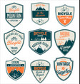 bicycle retro blue and orange vintage badge vector image vector image