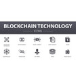 blockchain technology simple concept icons set vector image