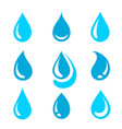 blue water drops silhouettes and droplet set icons vector image vector image