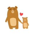 Brown Bear Dad Animal Parent And Its Baby Calf vector image vector image