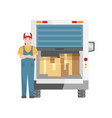 carrier service for loading boxed goods into a vector image